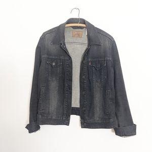 Levi's Charcoal Gray Denim Jean Trucker Jacket L